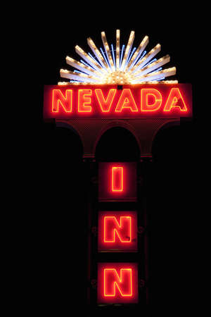 Nevada Inn neon signage in Nevada Editorial
