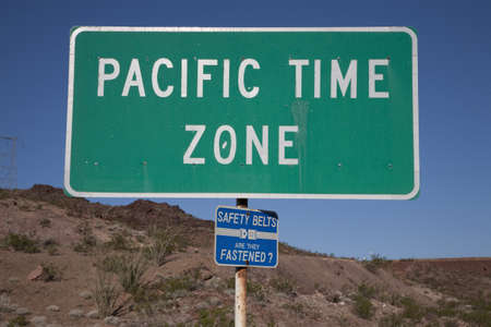 Pacific Time Zone green signage