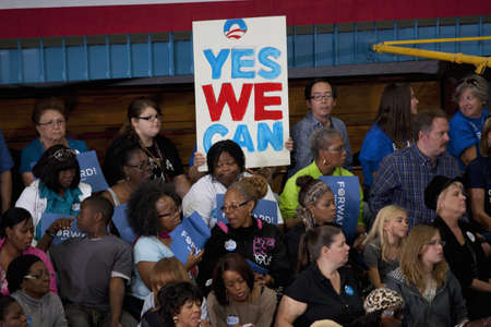 Supporters of President Barack Obama at a Presidential Campaign rally during the 2012 Presidential Election