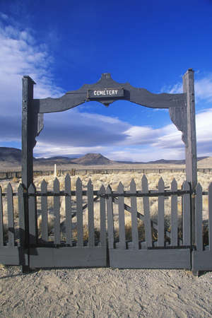 nv: Fence surrounding pioneer cemetery in Fort Churchill State Park, NV Editorial