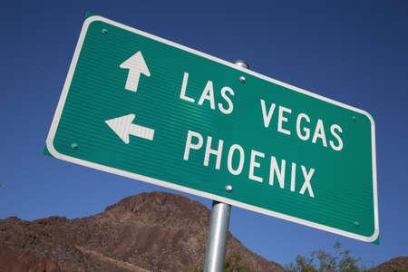Signboard showing directions to Las Vegas, Nevada and Phoenix, Arizona