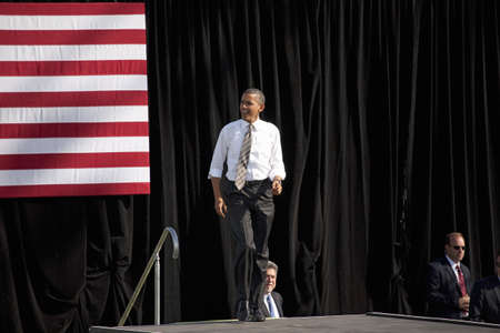 senator: 2012 Democrat Presidential Candidate, Senator Barack Obama at a Presidential Campaign rally