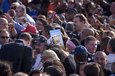 상원 의원 버락 오바마 대통령 캠페인 랠리에서 군중