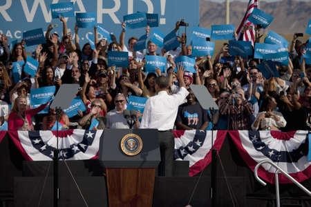 senator: 2012 Democrat Presidential Candidate, Senator Barack Obama waving at a Presidential Campaign rally Editorial