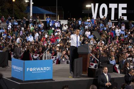 senator: 2012 Democrat Presidential Candidate, Senator Barack Obama speaking at a Presidential Campaign rally