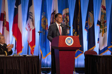 Governor Mitt Romney speaking at the National Guard Association in Reno, Nevada