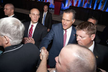 governor: 2012 Republican Presidential Candidate, Governor Mitt Romney greeting supporters at a Presidential Campaign rally in Henderson, Nevada