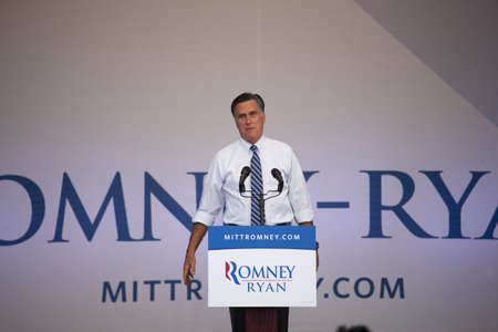romney: 2012 Republican Presidential Candidate, Governor Mitt Romney speaking at a Presidential Campaign rally in Henderson, Nevada Editorial