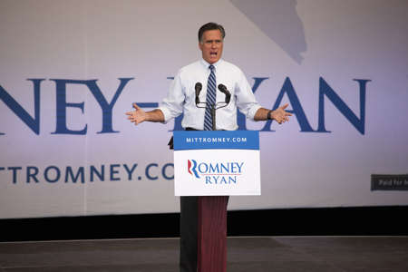 governor: 2012 Republican Presidential Candidate, Governor Mitt Romney speaking at a Presidential Campaign rally in Henderson, Nevada Editorial