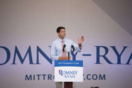 congressman: Congressman Paul Ryan speaking to audience at Presidential Campaign rally in Henderson, Nevada Editorial