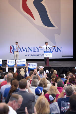 2012 Republican Presidential Candidate, Governor Mitt Romney speaking at a Presidential Campaign rally in Henderson, Nevada Editorial