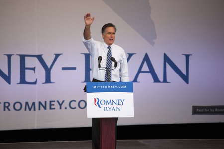 2012 Republican Presidential Candidate, Governor Mitt Romney waves to audience at Presidential Campaign rally in Henderson, Nevada
