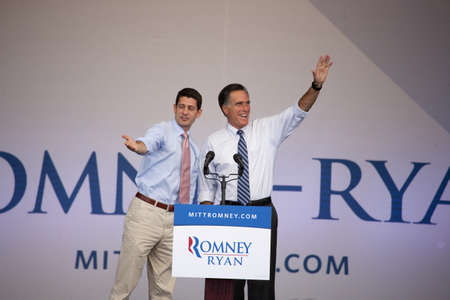 2012 Republican Presidential Candidate, Governor Mitt Romney and Congressman Paul Ryan wave to audience at Presidential Campaign rally in Henderson, Nevada