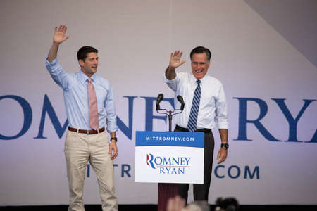 congressman: 2012 Republican Presidential Candidate, Governor Mitt Romney and Congressman Paul Ryan wave to audience at Presidential Campaign rally in Henderson, Nevada