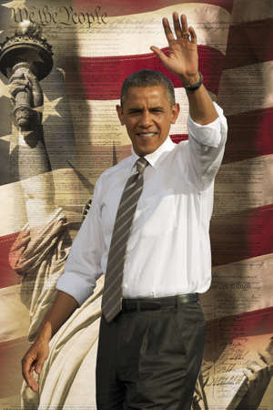 President Barack Obama waving against a backdrop of the flag of the United States of America, the Statue of Liberty and the United States Constitution