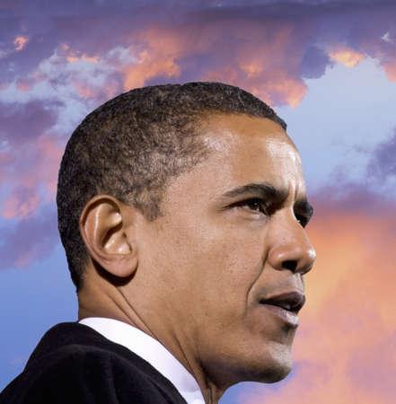 obama: President Barack Obama against a backdrop of a sunset Editorial