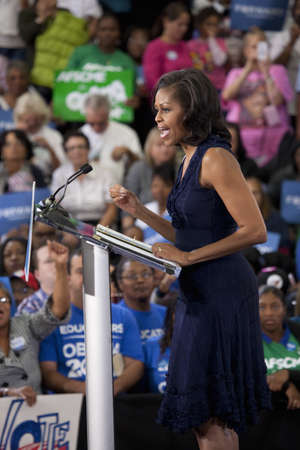 presidential: Michelle Obama speaking at a rally during the 2012 Presidential Election