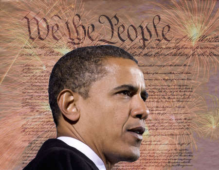 President Barack Obama against a backdrop of the United States Constitution Zdjęcie Seryjne - 23059144