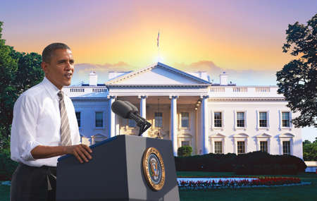 President Barack Obama speaking against a backdrop of the White House in Washington, D.C.