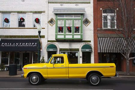 A bright yellow truck on the street in Franklin, Tennessee