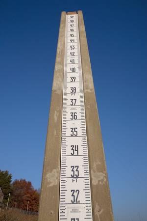 Cumberland River water flood gauge meter in Nashville, TN