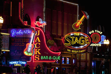 Bright neon signages in Lower Broadway, Nashville, TN