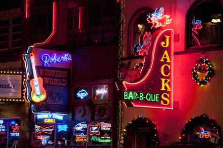 jacks: Bright neon signages in Lower Broadway, Nashville, TN