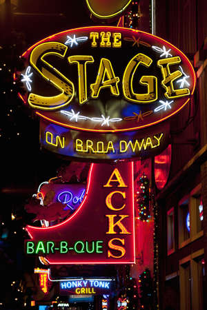 bar b que: The Stage on Broadway neon signage in Lower Broadway, Nashville, TN
