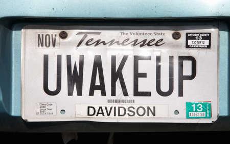 Tennessee kenteken van een voertuig in TN