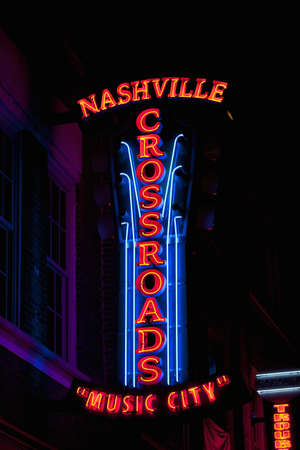 Nashville Crossroads neon signs on Lower Broadway Area in Nashville, TN