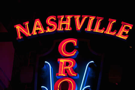 Nashville Crossroads neon signs on Lower Broadway Area in Nashville, TN Stock Photo - 23003660