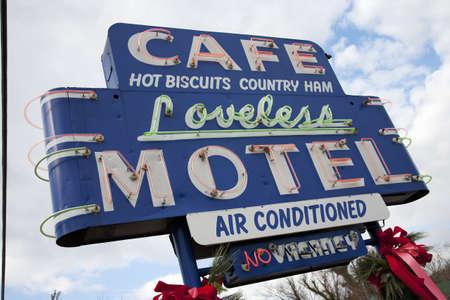 Cafe Loveless Motel neon signage in Nashville, TN