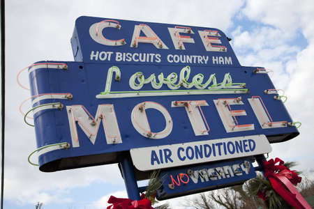conditioned: Cafe Loveless Motel neon signage in Nashville, TN