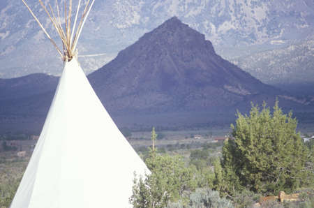 teepee: Teepee and mountain in southern UT
