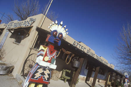 nm: Replica of Kachina doll in front of Aztec Ruins gift store in La Plata, NM Editorial