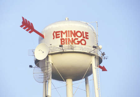 advertise with us: Water tower with arrows and satellite dishes, Seminole Indian reservation in Florida Editorial