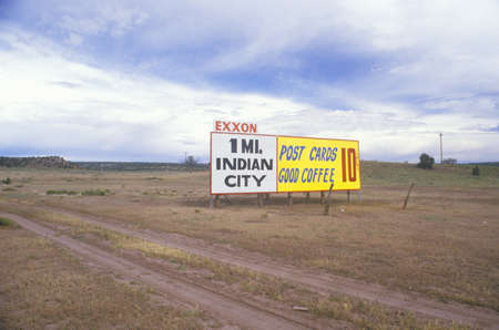 nm: Indian City billboard in desolate area of NM Editorial