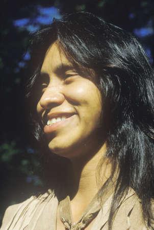 cherokee: Close-up of Cherokee youth, Tsalagi Village, Cherokee Nation, OK