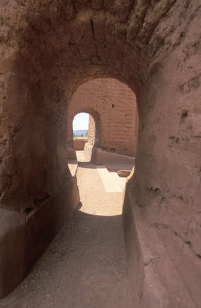 nm: Arched doorways at the Spanish Mission, Pecos National Historical Park, Pecos, NM