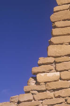 chaco: Close-up of adobe brick wall, circa 1060 AD, Chaco Canyon Indian ruins, The Center of Indian Civilization, NM
