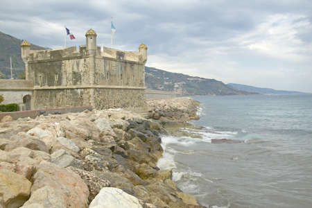 menton: The Bastion and the port at Menton, France Editorial