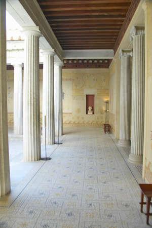 Courtyard at the Villa Kerylos, located on Pointe des Fourmis, in Beaulieu-Sur-Mer, France
