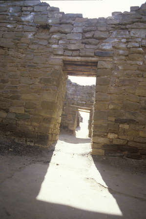 nm: Adobe walls and doorway at the Aztec Indian ruins, La Plata, NM Editorial