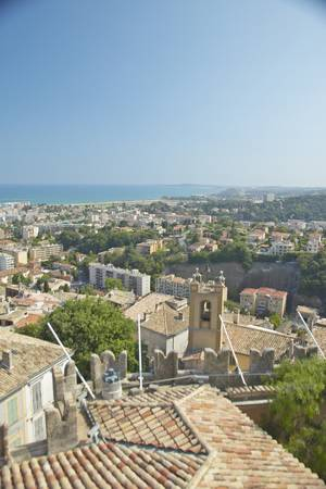 haut: View from Chateau Grimaldi of Haut de Cagnes, France Editorial