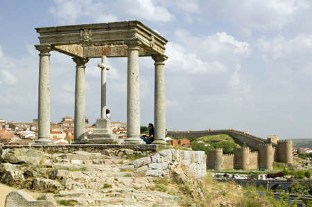 postes: Cuatros Postes (Four Pillars or Posts) in the old Castillian Spanish village of Avila Spain