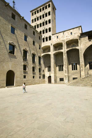 queen isabella: Courtyard of the Pla�a del Rei, Barcelona Spain, the site where King Ferdinand and Queen Isabella first heard of Columbus exploits in the new world Editorial