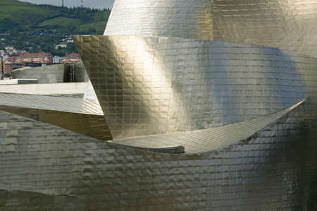 The Guggenheim Museum of Contemporary Art of Bilbao (Bilbo), located on the North Coast of Spain in the Basque region. Nicknamed The Hole, this is a contemporary museum built of titanium, limestone and glass and was designed by Canadian citizen, Frank O Editorial