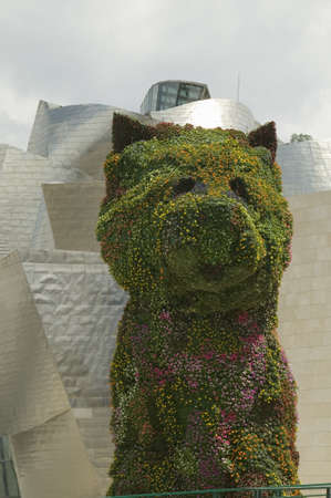 bilbo: Jeffrey Koons living plant sculptor of dog in front of the Guggenheim Museum of Contemporary Art of Bilbao (Bilbo), located on the North Coast of Spain in the Basque region. Nicknamed The Hole, this is a contemporary museum built of titanium, limestone Editorial