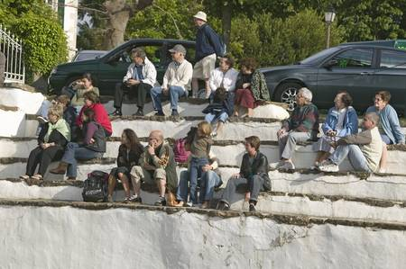Local villagers in Sare, France, in Basque Country on the Spanish-French border, watch Jai Li game near St. Jean de Luz, on the Cote Basque, South West France Editorial