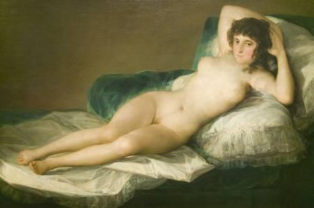 partially nude: The Nude Maja, Duchess of Alba,  by Francisco de Goya as shown in the Museum de Prado, Prado Museum, Madrid, Spain
